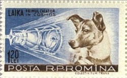 Romanian stamp from 1959 with Laika